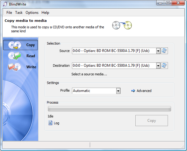 Click to view BlindWrite -  CD and DVD copy 7.0.0.0 screenshot