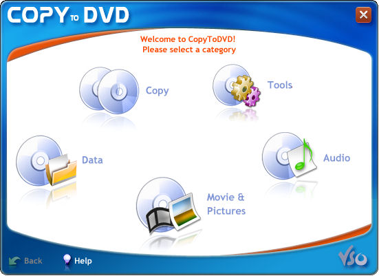 Copy, burn and backup data, photos, audio and videos on CD or DVD. CopyToDVD has you need to satisfy your burning needs. Select the type of project you want to burn, add your files and go. Your burning can be done easily and successfully.