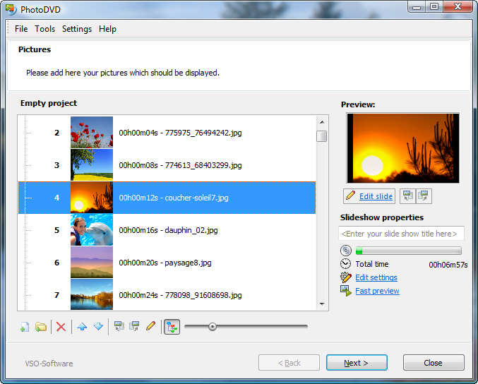 Create photo slideshows on DVD for your TV.