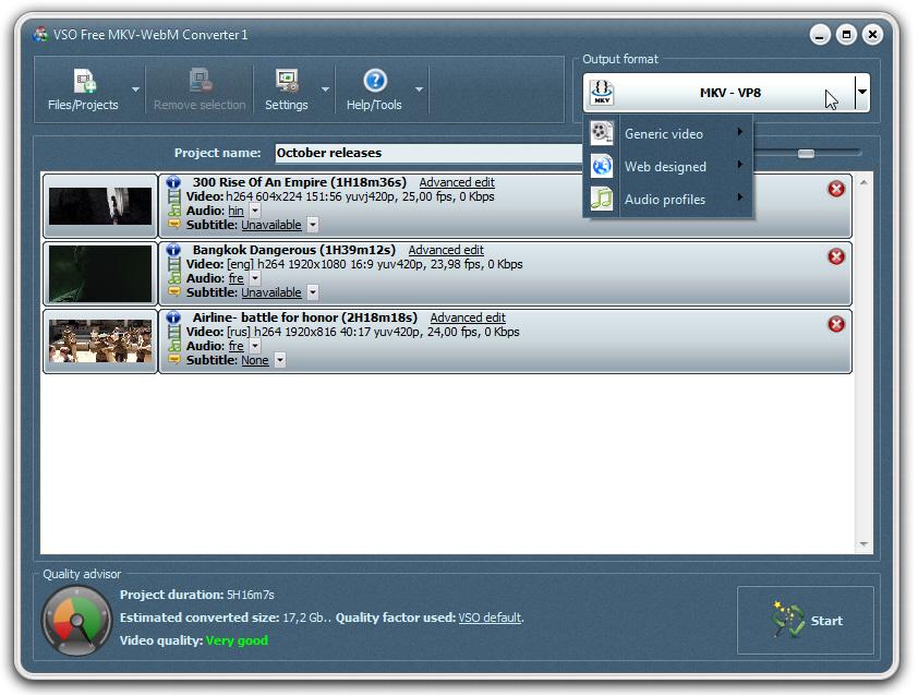 VSO Free MKV WebM Converter Screenshot