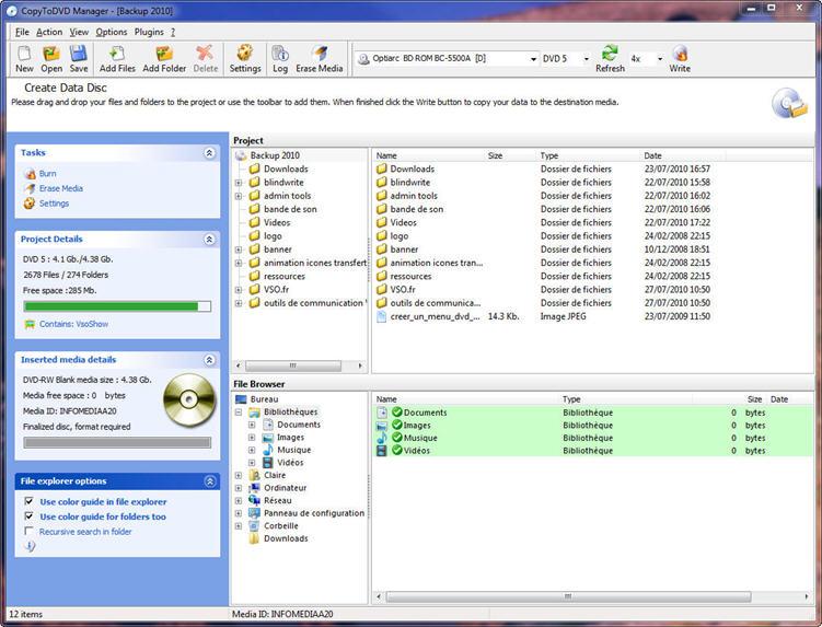 CopyToDVD - CD/DVD/Blu-ray burning software - backup DVD - burn disk